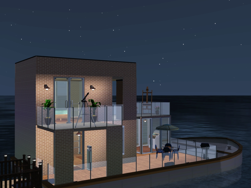 All in one bathroom - The Upper Deck Has A Bedroom And Two Balconies Each Level Has An All In One Bathroom This Houseboat Is Furnished For 2 Sims