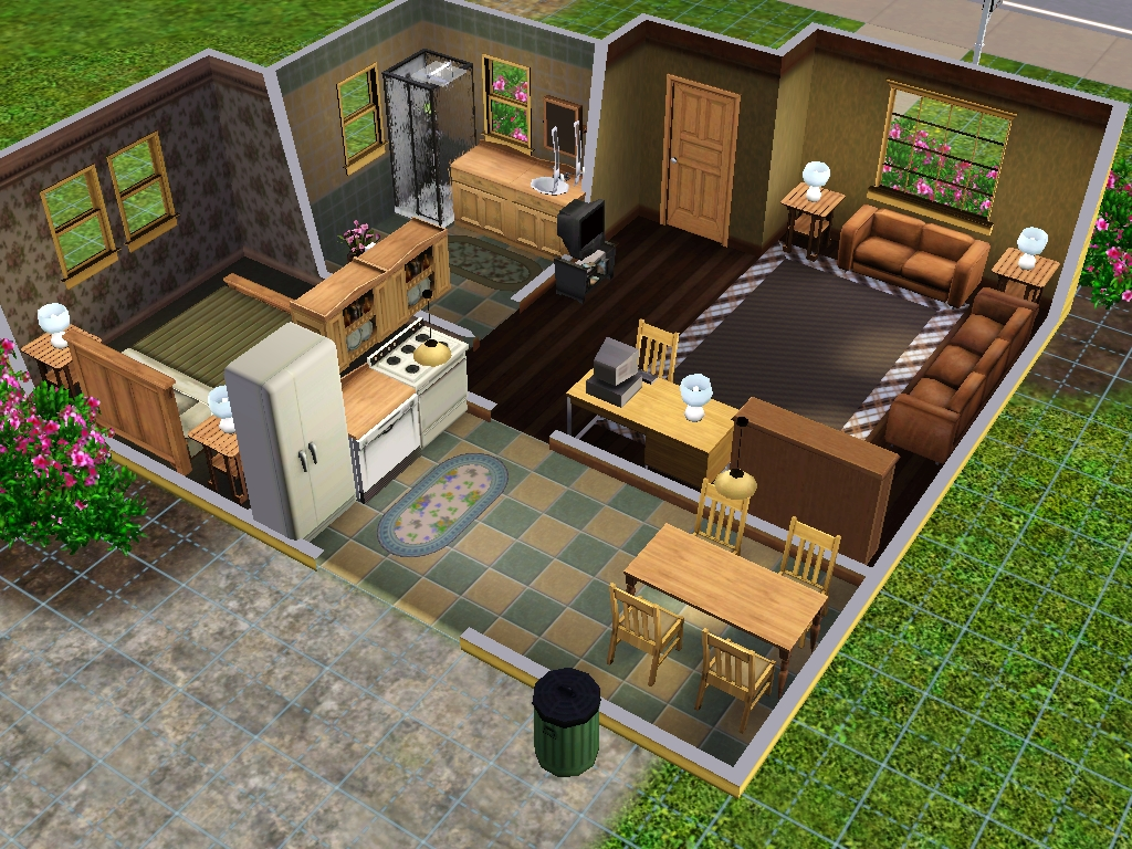 Other this home may be small but has a nice layout for expanding purposes there is an eat in kitchen and a good size bathroom furnished for 2 sims